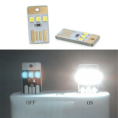 Newest 2x Portable USB LED Light Pocket Card Lamp Mobile Power Camping Laptop