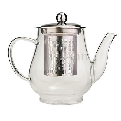 750ml Stainless Steel Heat Resistant Glass Infusion Tea Pot Leaf Infuser Teapot