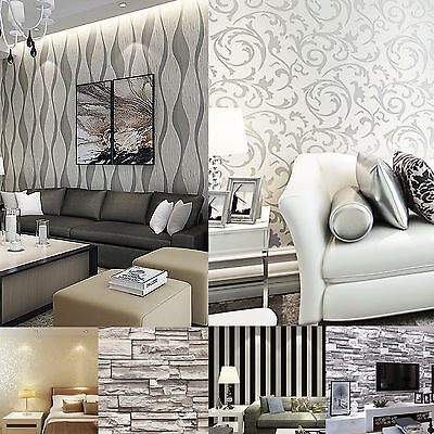 3D Victorian Damask Luxury Embossed Wallpaper Wall Paper Roll Silver/Gold Design
