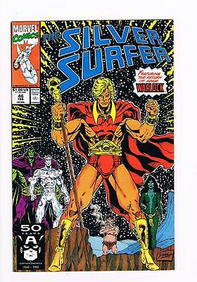 Silver Surfer # 46 Vol 2 Return of Adam Warlock ! grade 8.5 scarce hot book !!