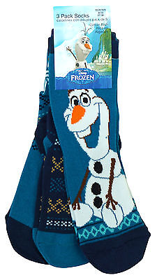 Boys Disney Frozen Olaf Pack of 3 Pairs Cotton Rich Socks UK Shoe Size 6 to 6.5