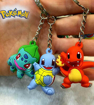 3pcs Pokemon Bulbasaur/Charmander/Squirtle 3cm-4cm Key Ring Chain Figure Set