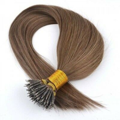 Nano Ring Tip 100% Remy Human Hair Extensions WITH RINGS Light Brown #6