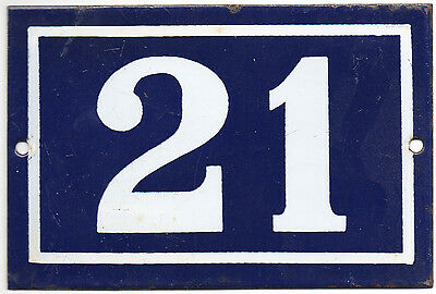 Old blue French house number 21 door gate plate plaque enamel metal sign steel