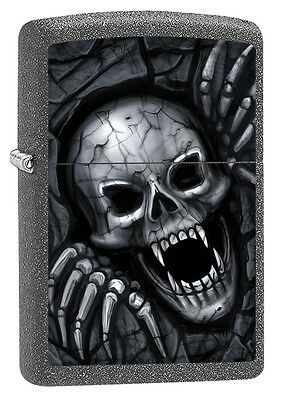 """ZIPPO """"SKULL CLAWING OUT"""" IRON STONE COLOR LIGHTER * NEW in BOX *"""