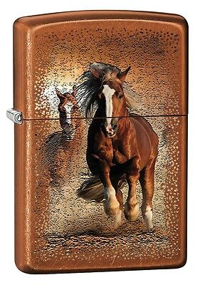 """ZIPPO """"WILD HORSE"""" POLISHED TOFFEE COLOR LIGHTER ** NEW in BOX **"""