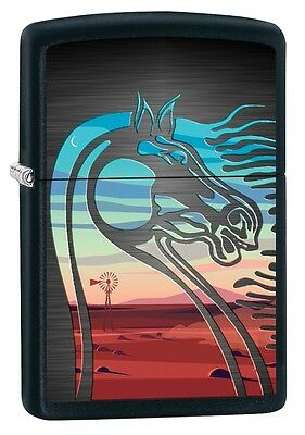 "ZIPPO ""HORSE DESERT"" MATTE BLACK COLOR LIGHTER ** NEW in BOX **"