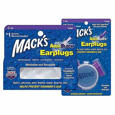 Macks Soft Flanged AquaBlock Silicone Earplugs Corded Washable Earplugs
