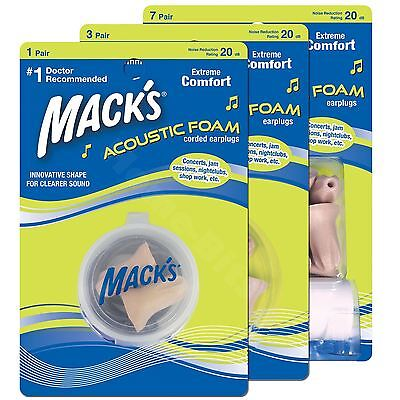 Macks Acoustic Ear plugs Soft Foam Comfort Earplugs Noise Blocker Sleep Work