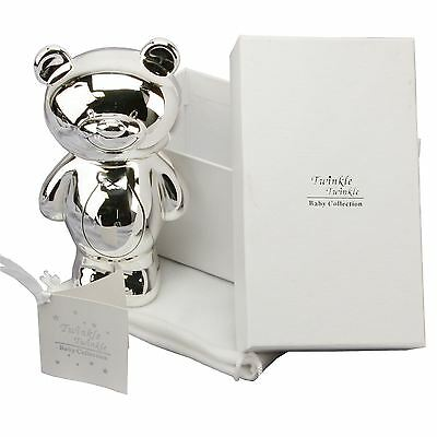 Twinkle Twinkle Baby Collection Silver Plated Teddy Money Bank Gift Box & Bag