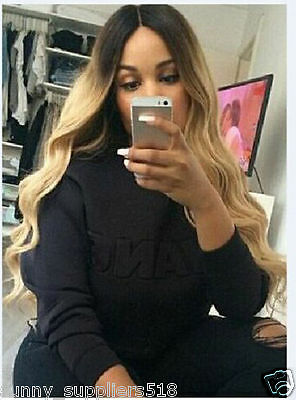 New Long Wavy Color Ombre black/Blonde Synthetic Women's Full Wigs