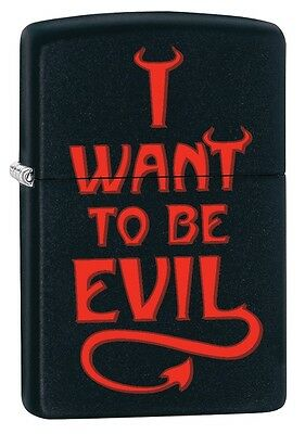 """ZIPPO """"I WANT TO BE EVIL"""" MATTE BLACK COLOR LIGHTER * NEW in BOX *"""