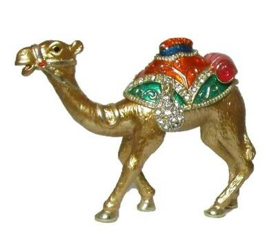 Golden Camel Festive Decorated Hinged Jeweled Trinket Box w Austrian Crystals