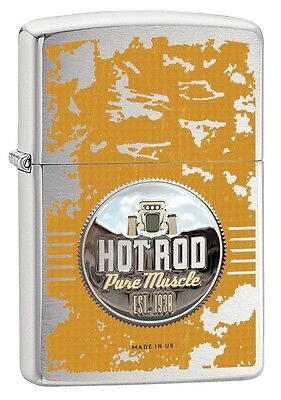 """ZIPPO """"HOT ROD PURE MUSCLE"""" BRUSHED CHROME COLOR LIGHTER ** NEW in BOX **"""