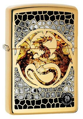 """ZIPPO """"ANNE STOKES FUSION DRAGON"""" POLISHED BRASS COLOR LIGHTER ** NEW in BOX **"""