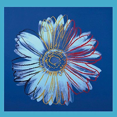 Daisy, c.1982 (blue on blue) by Andy Warhol Art Print Poster Flower 19.75x19.75