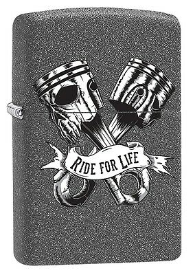"""ZIPPO """"RIDE FOR LIFE"""" IRON STONE COLOR LIGHTER ** NEW in BOX **"""