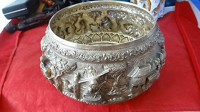 Large Antique Indian Burmese Hand Crafted Solid Silver Repousse Bowl