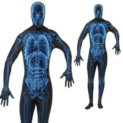 Mens X-Ray Costume Bodysuit Second Skin Scary Adult Halloween Fancy Dress New