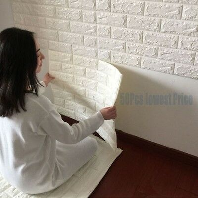 50 rolls 3D effect Stone Brick Wall Textured Vinyl Wallpaper Self-adhesive safe