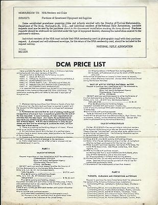 Gun Products Price List NRA Members Director Civilian Marksmanship 1960 (SP13)