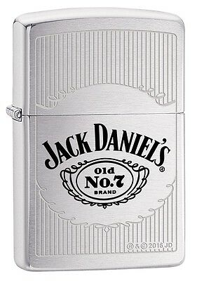 """ZIPPO """"JACK DANIELS no7"""" BRUSHED CHROME GEL. COLOR LIGHTER ** NEW IN BOX **"""