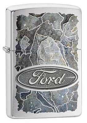 "Zippo ""ford Stone"" Brushed Chrome Color Lighter ** New In Box ** Auto Car"