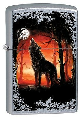 """Zippo """"wolf Moon Trees"""" Street Chrome Color Lighter ** New In Box ** Animals"""