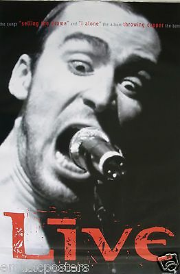 """LIVE """"THROWING COPPER"""" U.S. PROMO POSTER- Ed Kowalczyk Screaming Into Microphone"""