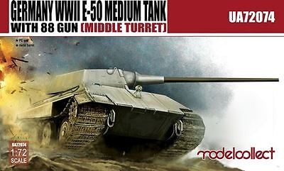 MODELCOLLECT UA72074 WWII German E-50 w/88mm Gun (Middle Turret) in 1:72