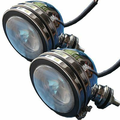 "2 x 4"" White Light Car Spotlights Fog Chrome Angel Eye Halogen Spot Foglights"