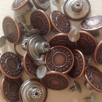 "Approx 20Mm (25/32"") No Sew Hammer On Denim/ Jean Buttons X 100 Bulk- Bronze ***"