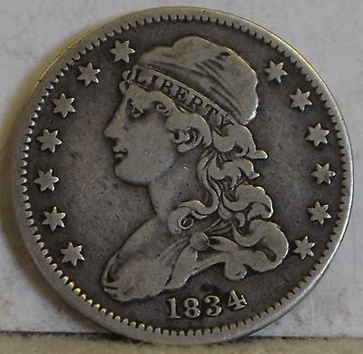 """1834 Capped Bust Quarter """"VF"""" *Free Shipping After First Item*"""