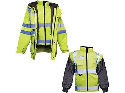 Hi Vis Waterproof Reflective 7 in 1 Jacket / Coat Breathable -Yellow or Orange