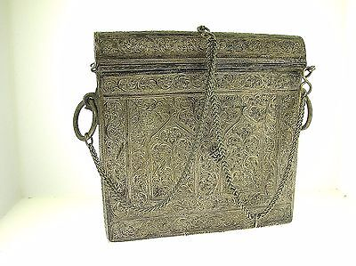 18/19Th C. Middle Eastern Silver Documents/Travel Box 560 Grams-Very Nice-Rare!