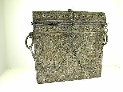 Antique Middle Eastern Silver Documents/travel Box 560 Grams - Very Nice - Rare!