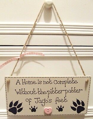 Handmade Personalised Plaque Sign Pet Cat Lovers Paw Heart Shabby Chic Home Gift