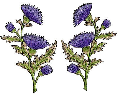 Pair embroidery flowers transfers embroidery patch fusible patches