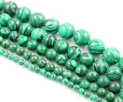 "Natural Round smooth malachite  Jewelry Making loose GEM beads strand 15""AAA"