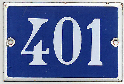Old French house number 401 door gate plate plaque enamel steel metal sign