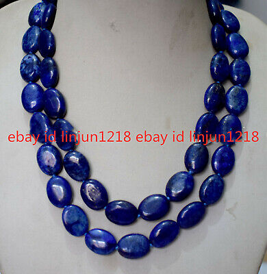 Natural AAA 13x18mm Blue Lapis Lazuli Oval Gemstone Necklace Super 18-100 Inch