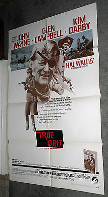 TRUE GRIT original 1969 27x41 one sheet movie poster JOHN WAYNE