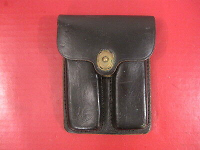 post-Vietnam US Army M1923 Black Leather MP Magazine Pouch Colt 45 - Late 1970's
