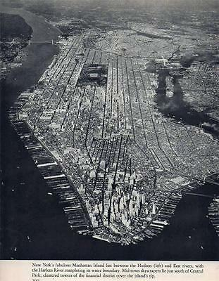Manhattan Island New York  Boundry Rivers Aerial Photo From Book 1940s Era Rare