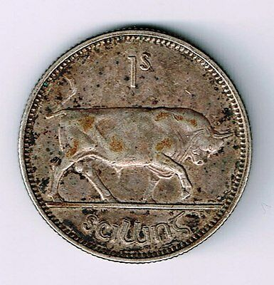 Ireland Irish 1931 One Shilling Harp And Bull Silver Coin Nice Details