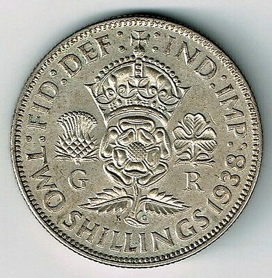 Great Britian 1938 Florin Two Shillings George Vi Foreign Silver Coin Nice Grade