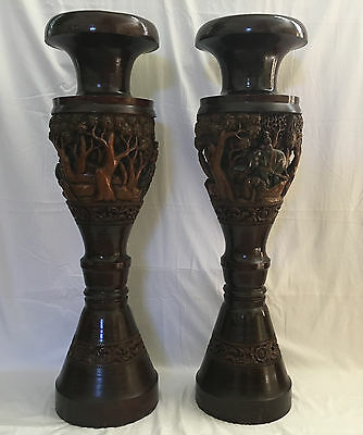 """C. 1920 """"tall"""" Asian Hand-Carved Solid Wood Pillars/ Planters/ Candle Holders"""