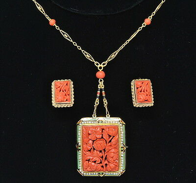 14k Yellow Gold Carved Coral Enamel Seed Pearl Necklace Brooch Pin Earrings Set