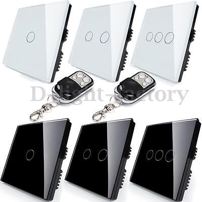 1/2 Way 1/2/3 Gang Tempered Glass Touch Panel Wall Light Switch w/Remote Control