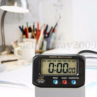 LCD Digital Time & Date Alarm Clock Stop Watch Snooze Function With Night Light